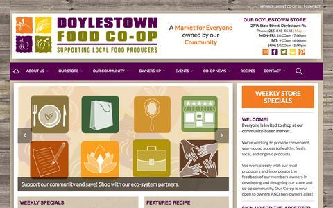Screenshot of Home Page doylestown.coop - Doylestown Food Co-op - captured Sept. 12, 2015