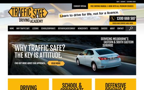 Screenshot of Home Page driving-school.com.au - - Traffic Safe Learn how to drive for life, not for a licence - captured Oct. 5, 2014