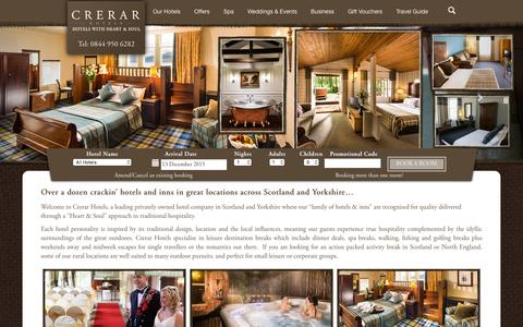 Screenshot of Home Page crerarhotels.com - Crerar Hotels in Scotland and England - captured Dec. 13, 2015