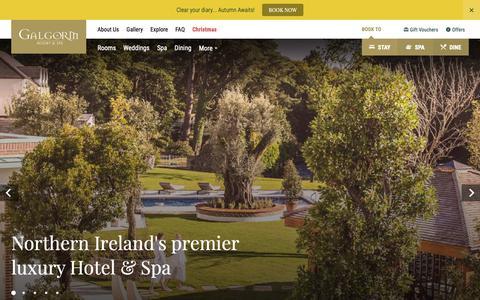 Screenshot of Home Page galgorm.com - Spa Hotels Northern Ireland | Galgorm Resort & Spa - captured Sept. 26, 2018