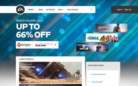 Screenshot of Home Page ea.com - EA Games - Electronic Arts - captured Dec. 23, 2015