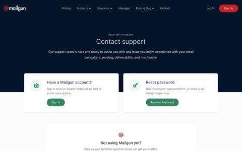 Screenshot of Support Page mailgun.com - Contact Support   Mailgun - captured Sept. 30, 2019