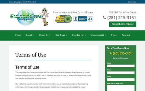 Screenshot of Terms Page enviroconpest.com - Terms of Use - EnviroCon - captured Jan. 29, 2016