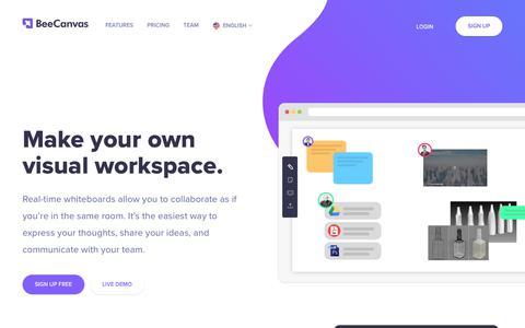 Screenshot of Home Page beecanvas.com - Visual workspace for creative teamwork | BeeCanvas - captured July 5, 2018