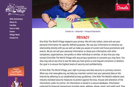 Screenshot of Privacy Page gktw.com - About Us | Give Kids The World Village | Top-Rated Charity - captured April 13, 2016