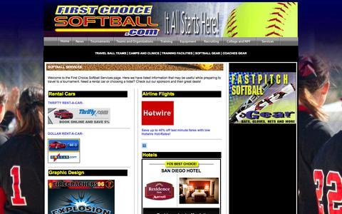 Screenshot of Services Page firstchoicesoftball.com - First Choice Softball | Services - captured Oct. 6, 2014