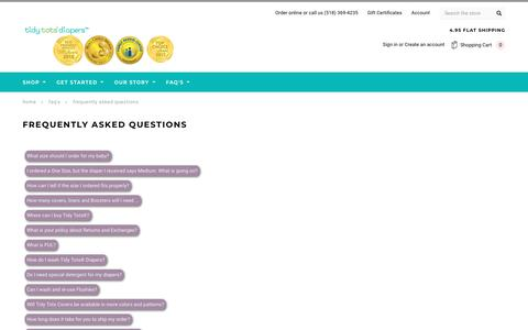 Screenshot of FAQ Page tidytotsdiapers.com - Frequently Asked Questions - captured Sept. 24, 2018