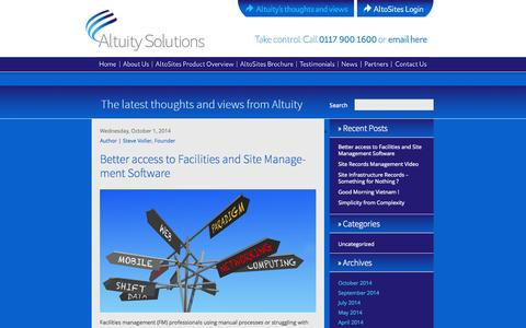 Screenshot of Blog altuity.com - Altuity's thoughts and views - captured Oct. 4, 2014