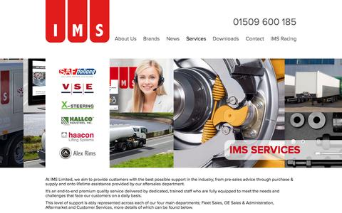 Screenshot of Services Page imslimited.com - IMS value added services. Spare parts aftermarket - IMS Limited - captured May 26, 2017