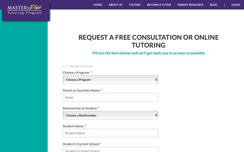 Screenshot of Signup Page mptutors.com - Masters Plus - Free Consultation - captured Oct. 1, 2018