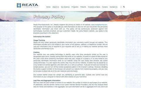 Screenshot of Privacy Page reatapharma.com - Privacy Policy | Home - captured July 13, 2018