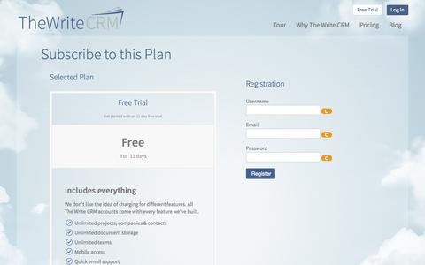 Screenshot of Trial Page thewritecrm.com - Free Trial - The Write CRM - Software for Writers - captured Sept. 30, 2014