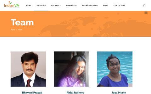Screenshot of Team Page indianva.com - Virtual Assistants team | IndianVA - captured Nov. 6, 2018
