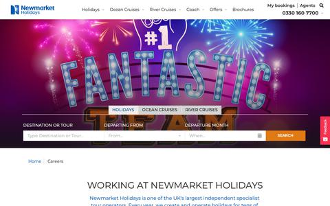 Screenshot of Jobs Page newmarketholidays.co.uk - Careers and Jobs | Newmarket Holidays - captured Nov. 13, 2018