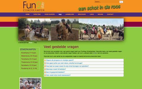 Screenshot of FAQ Page fun2stay.nl - Fun2stay Zomerkampen - FAQ - captured Oct. 6, 2014
