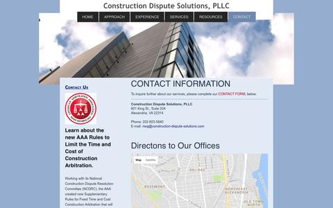 Screenshot of Contact Page construction-dispute-solutions.com - Construction Dispute Resolution Services, PLLC - CONTACT - captured Aug. 25, 2017
