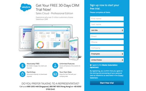 Screenshot of Trial Page salesforce.com - CRM Free Trial: Salesforce 30-Day Trial - Salesforce - captured Oct. 9, 2018
