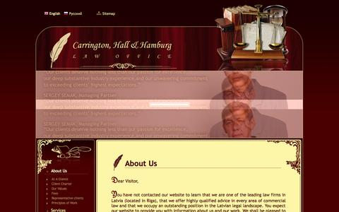 Screenshot of About Page carrington.lv - About Us - captured Oct. 2, 2014