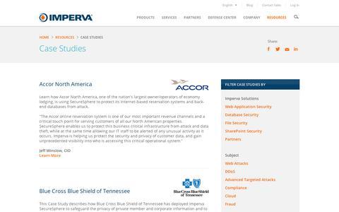 Screenshot of Case Studies Page imperva.com - CaseStudies - captured Sept. 11, 2014