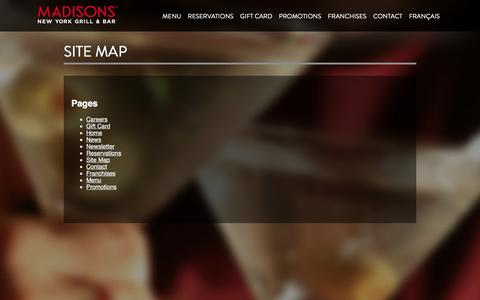 Screenshot of Site Map Page madisonsnyc.com - Site Map - Madisons New York Grill & Bar - Canada - captured Feb. 4, 2016
