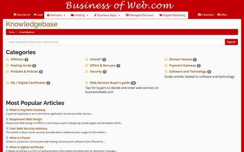 Screenshot of FAQ Page businessofweb.com - Premium Web Services   Buy website cloud hosting, digital marketing, payment gateway, web app software developer, register domain - Knowledgebase       - BusinessOfWeb.com online shopping e-commerce India - captured Oct. 7, 2018