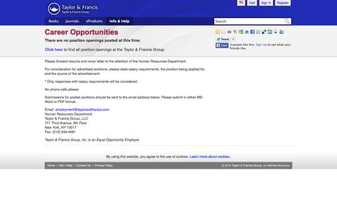 Screenshot of Jobs Page taylorandfrancis.com - Career Opportunities - Taylor & Francis - captured Sept. 25, 2014