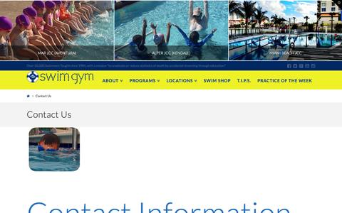 Screenshot of Contact Page swimgym.net - Contact Us | SWIM GYM - captured Feb. 22, 2016