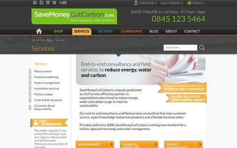 Screenshot of Services Page savemoneycutcarbon.com - Services | SaveMoneyCutCarbon - captured Oct. 29, 2014