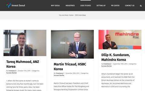 Screenshot of Case Studies Page investseoul.com - CEO Interviews – Invest SEOUL - captured Nov. 26, 2016