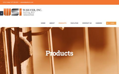 Screenshot of Products Page wsilverinc.com - Products – W. Silver, Inc. - captured Sept. 20, 2018