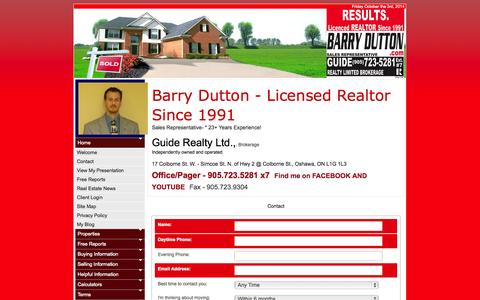 Screenshot of Contact Page barrydutton.com - Barry Dutton, Sales Representative :: Guide Realty Limited, Brokerage :: 905.723.5281 - captured Oct. 3, 2014