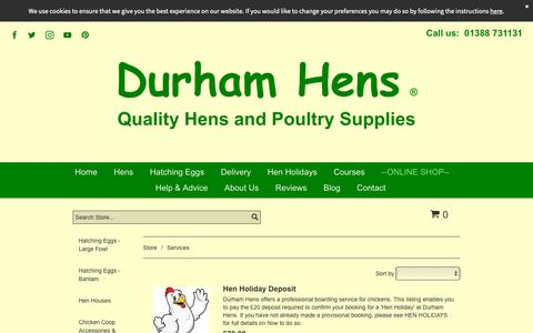 Screenshot of Services Page durhamhens.co.uk - Services - captured Oct. 22, 2018