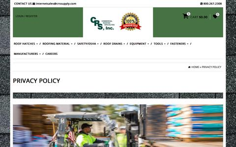 Screenshot of Privacy Page crssupply.com - Privacy Policy   Commercial Roofing Specialties - captured Aug. 15, 2017