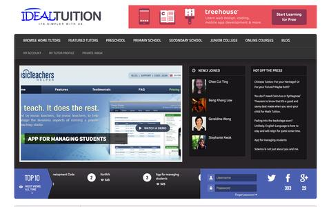 Screenshot of Home Page idealtuition.com - Ideal Tuition - Marketplace For Home Tutors & Students - Its Simpler With Us - captured Sept. 30, 2014