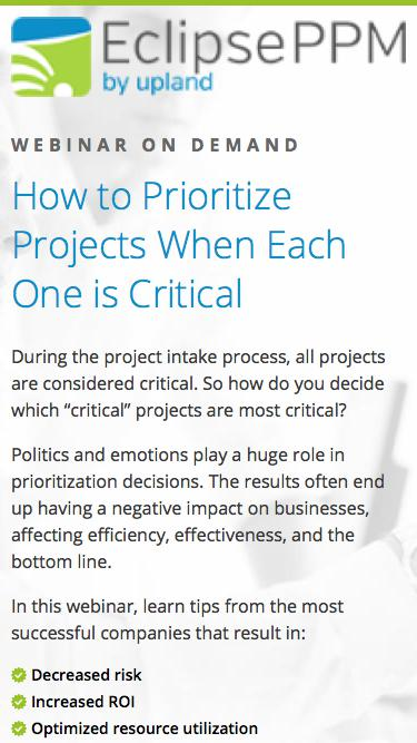 Eclipse Webinar: How to Prioritize Projects When Each One is Critical