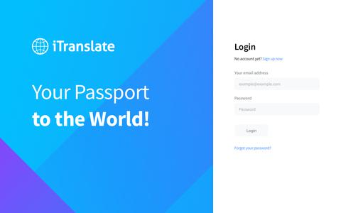 Screenshot of Login Page itranslate.com - iTranslate Teams - captured June 26, 2019