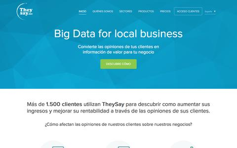 Screenshot of Home Page theysay.me - Theysay, Big data for local business - captured Jan. 17, 2016