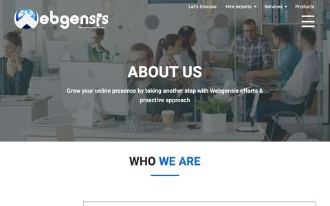 Screenshot of About Page webgensis.com - Web Designing & Web Development Outsourcing Company | Webgensis - captured Sept. 21, 2018