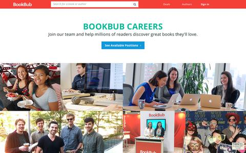 Screenshot of Jobs Page bookbub.com - Careers - BookBub - captured June 29, 2017