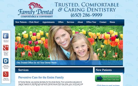 Screenshot of Services Page familydentalfostercity.com - Services | Family Dental | Dentist | Foster City, CA - captured Oct. 5, 2014