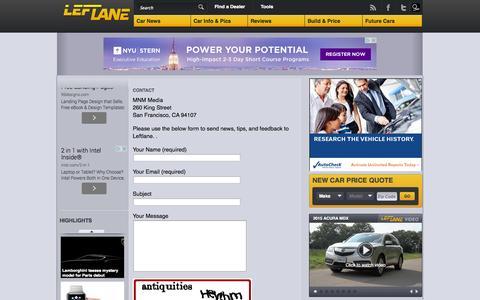 Screenshot of Contact Page leftlanenews.com - Leftlane - Contact - captured Sept. 18, 2014
