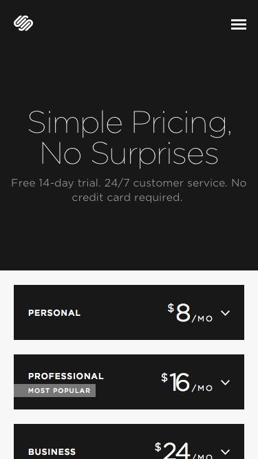 Screenshot of Pricing Page  squarespace.com - Pricing — Squarespace