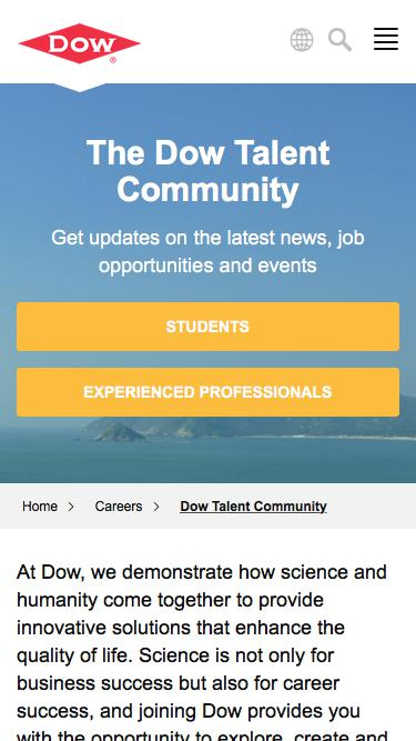 Screenshot of Jobs Page  dow.com - Dow Talent Community   Dow
