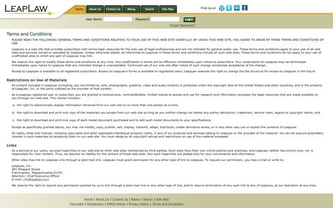 Screenshot of Terms Page leaplaw.com - LeapLaw - Terms and Conditions - captured Dec. 8, 2015