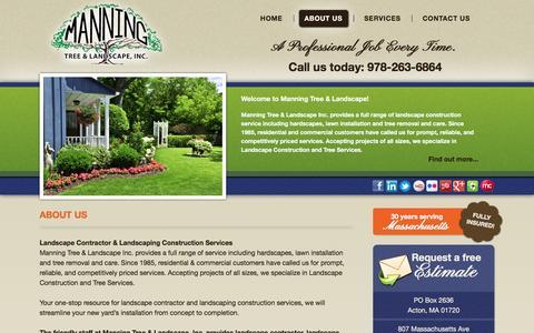 Screenshot of About Page manningtreelandscape.com - About Us | Manning Tree & Landscape - captured Feb. 4, 2016