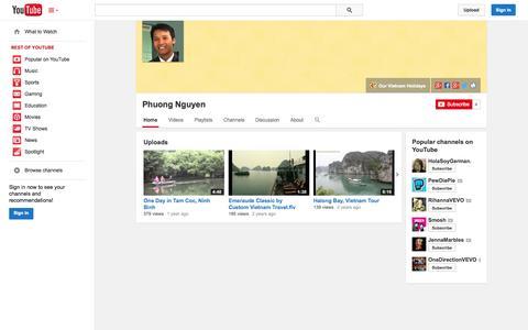 Screenshot of YouTube Page youtube.com - Phuong Nguyen  - YouTube - captured Oct. 23, 2014