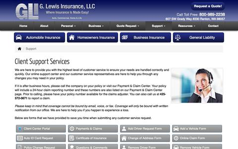 Screenshot of Support Page glewisinsurance.com - Client Support Services for G Lewis Insurance Agency in Renton Washington - captured Sept. 30, 2018