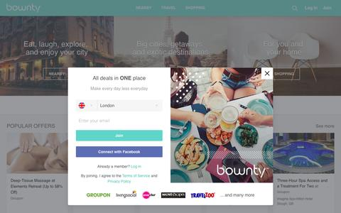 Screenshot of Home Page bownty.co.uk - All Daily Deals in ONE place - Bownty - captured May 9, 2017