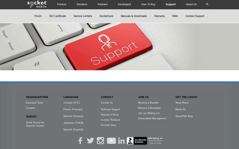 Screenshot of Support Page socketmobile.com - Socket Mobile   Support - captured Sept. 24, 2018