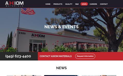 Screenshot of Press Page axiommaterials.com - News & events - Axiom Materials, Inc. - captured Oct. 4, 2018